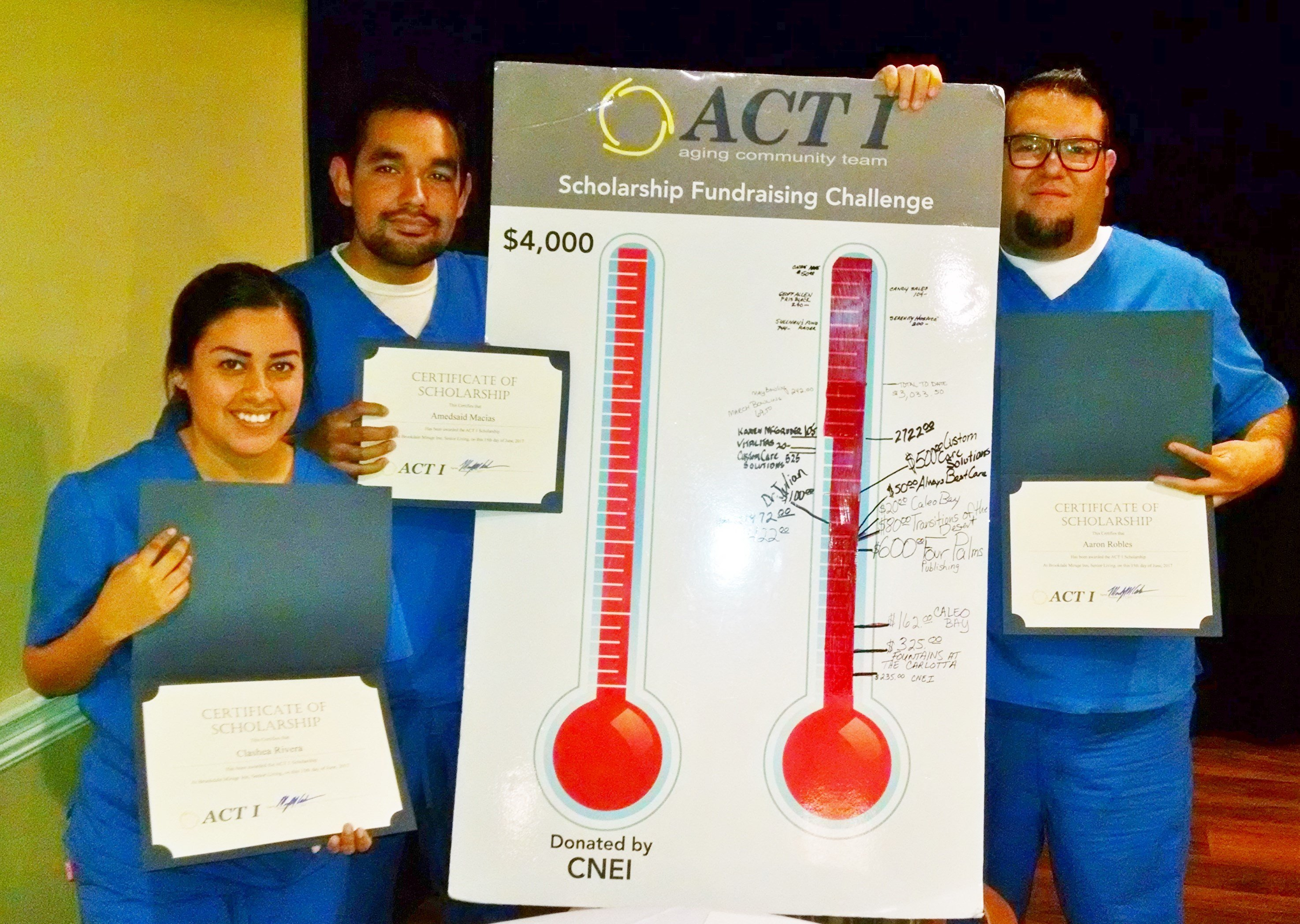 Health care students at California Nursing Education Institute: Clashea Rivera, Amedsaid Macias, and Aaron Robles receive scholarship awards at the recent ACT 1 luncheon.