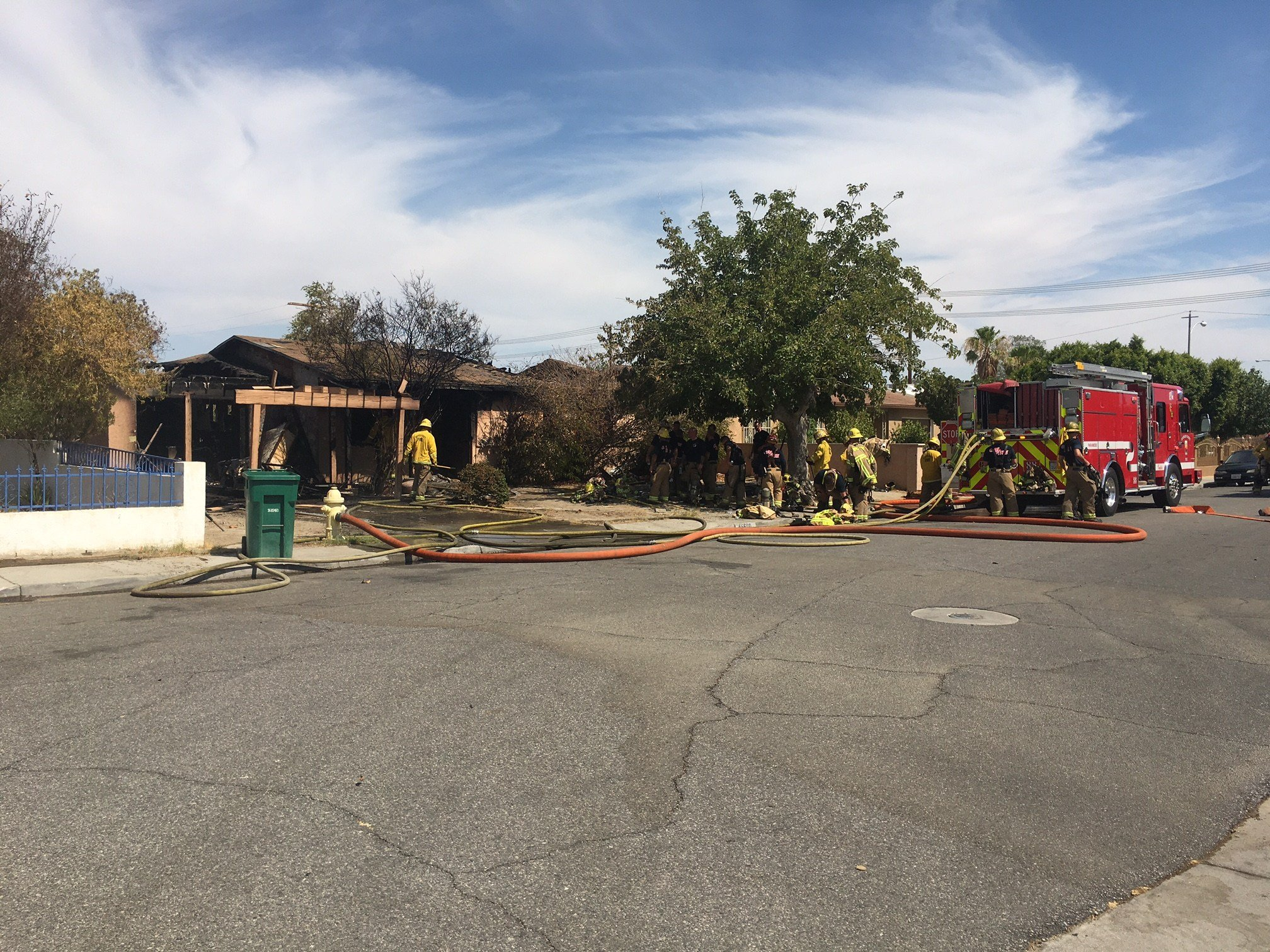 Fire destroyed about half of an Indio home in the 46000 block of Padua Circle.
