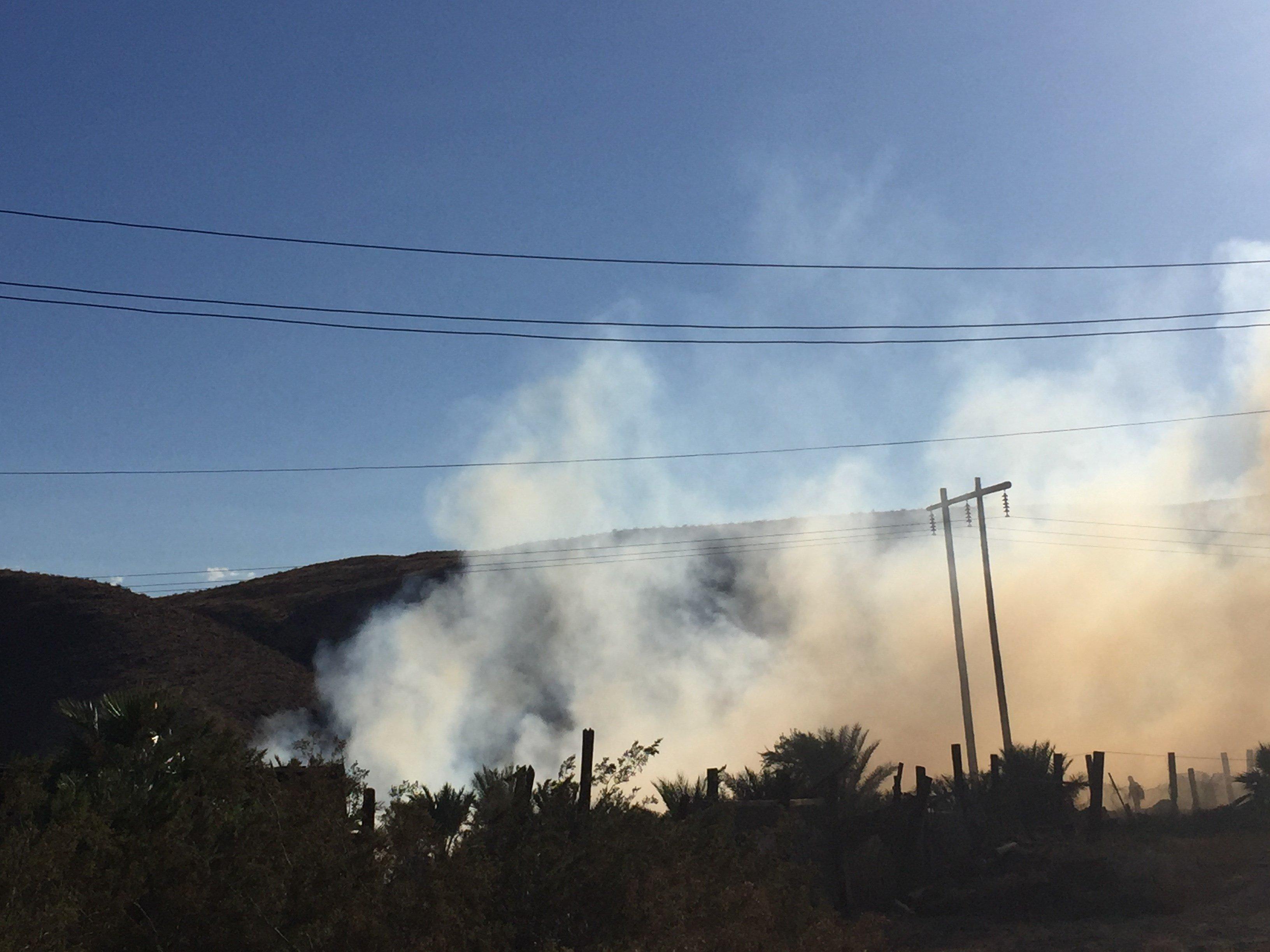 Fire burns in mulch field in Indio Hills