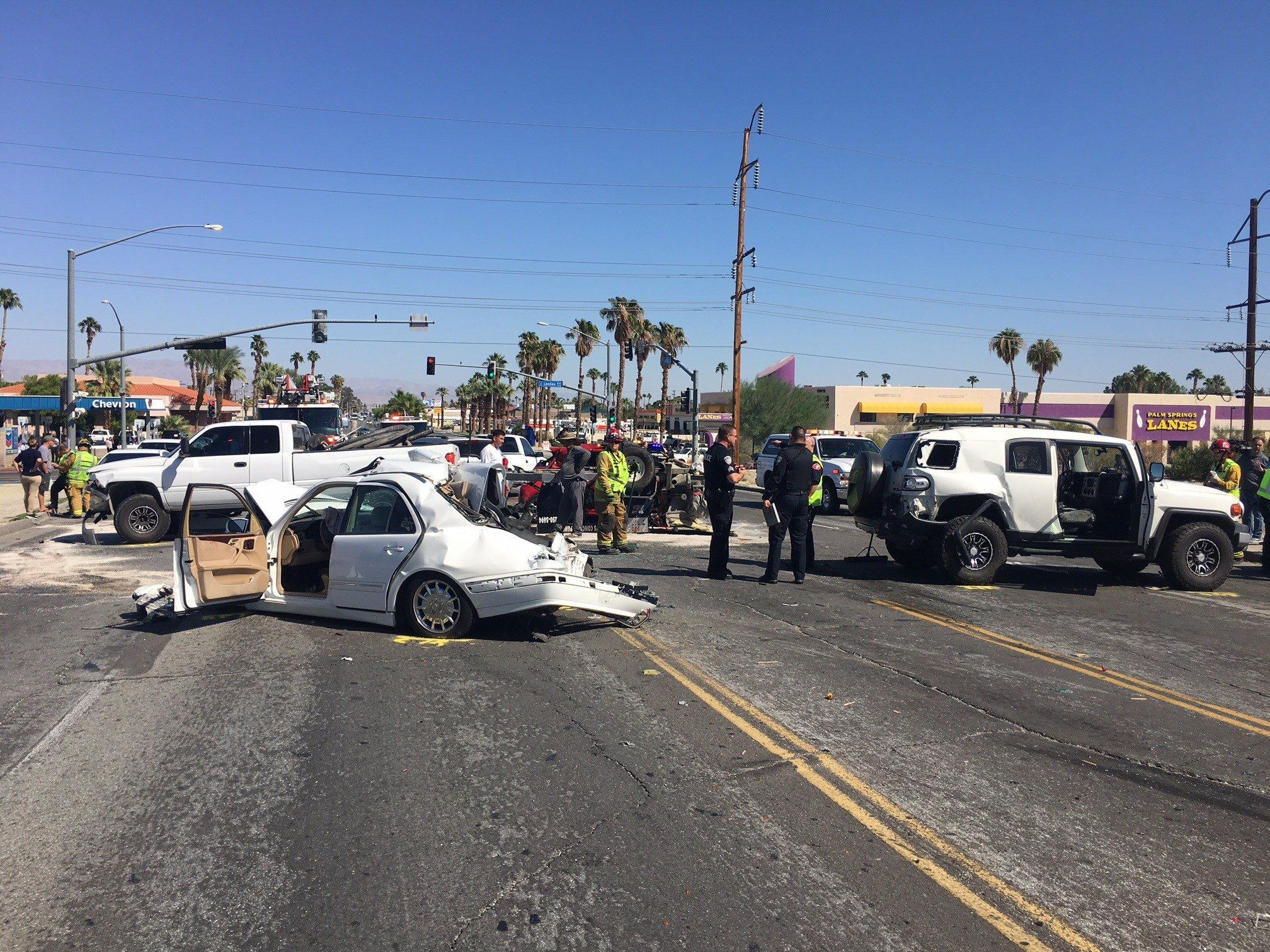 Authorities in Palm Springs have closed a portion of Ramon Road after a multiple vehicle collision.