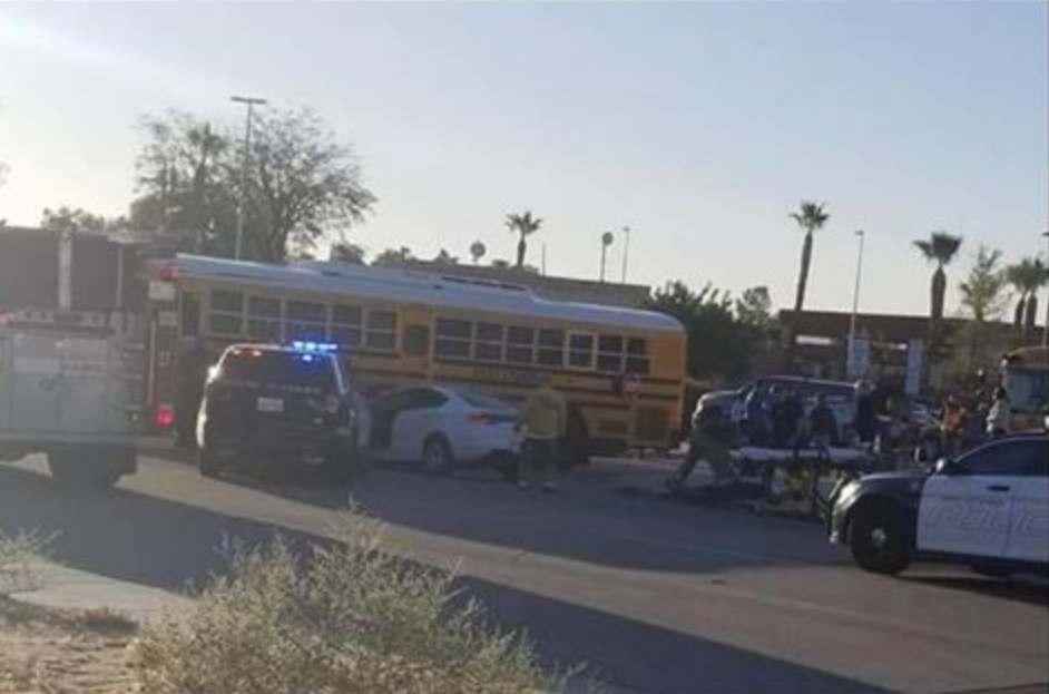 Two Injured After Car Hits School Bus in Desert Hot ...